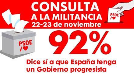 El 92% de la militancia apoya el preacuerdo para que España tenga un gobierno progresista