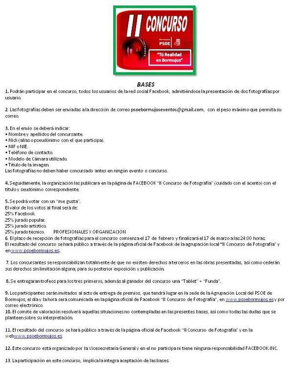 BASES II CONCURSO FACEBOOK 2