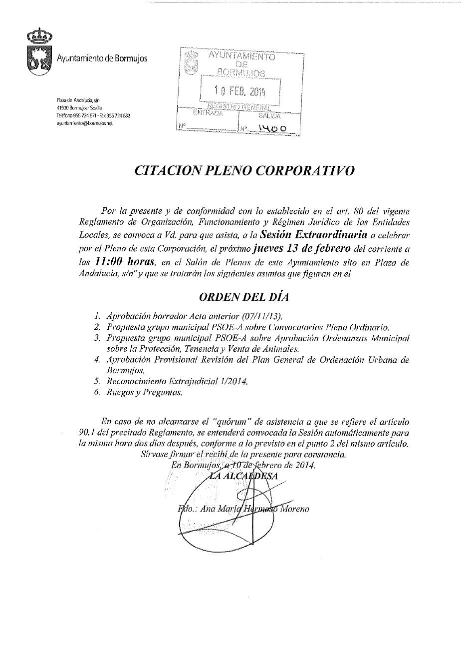 CITACIN PLENO EXTRAORDINARIO 13-2-2014